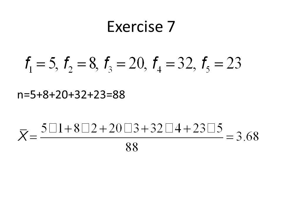 Exercise 7 n=5+8+20+32+23=88