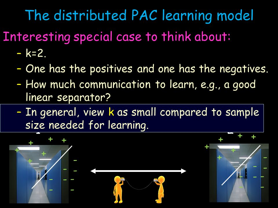 The distributed PAC learning model Interesting special case to think about: –k=2.
