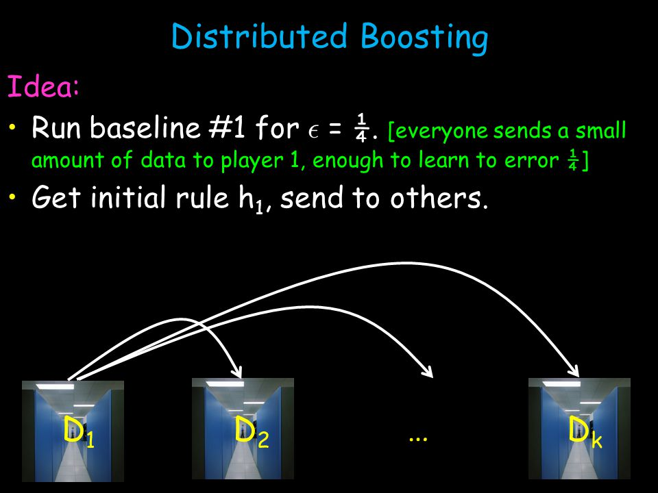 Distributed Boosting Idea: Run baseline #1 for ² = ¼.