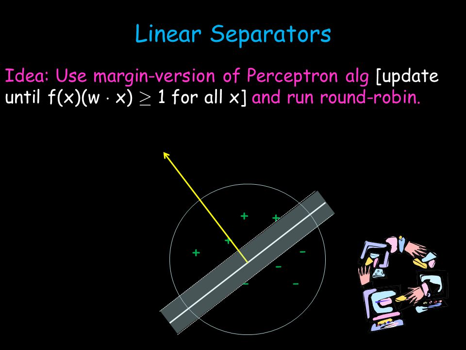 Linear Separators Idea: Use margin-version of Perceptron alg [update until f(x)(w ¢ x) ¸ 1 for all x] and run round-robin.