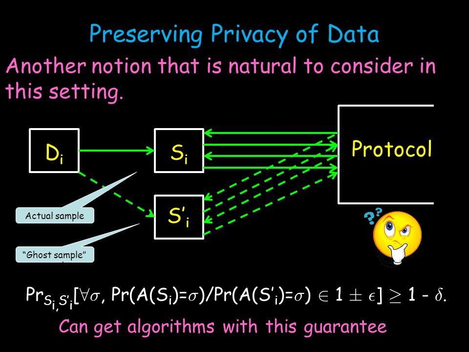 DiDi SiSi S' i Protocol Pr S i, S' i [ 8 ¾, Pr(A(S i )= ¾ )/Pr(A(S' i )= ¾ ) 2 1 § ² ] ¸ 1 - ±.