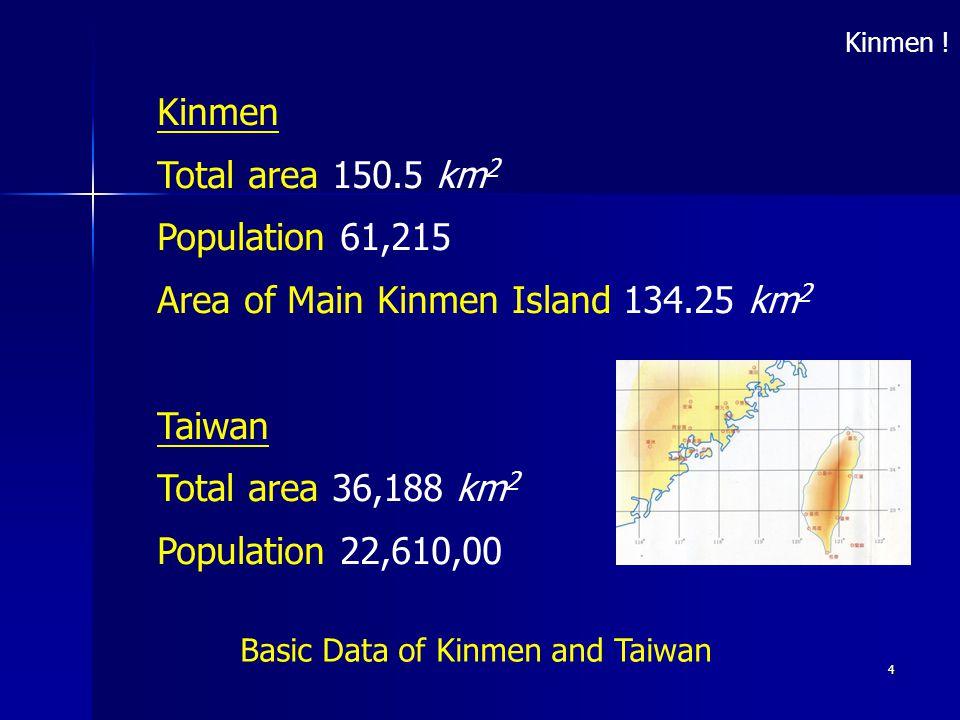 4 Basic Data of Kinmen and Taiwan Kinmen Total area 150.5 km 2 Population 61,215 Area of Main Kinmen Island 134.25 km 2 Taiwan Total area 36,188 km 2 Population 22,610,00 Kinmen !