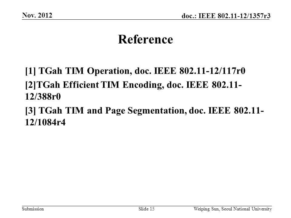 Submission doc.: IEEE 802.11-12/1357r3 Reference Slide 15 [1] TGah TIM Operation, doc.