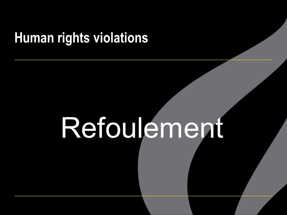  Refoulement  Arbitrary detention  Discrimination  No legal protection  Cruel, inhuman and degrading treatment Human rights violations on Manus: