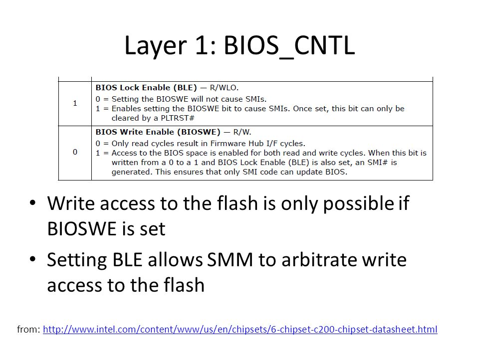 Layer 1: BIOS_CNTL Write access to the flash is only possible if BIOSWE is set Setting BLE allows SMM to arbitrate write access to the flash from: http://www.intel.com/content/www/us/en/chipsets/6-chipset-c200-chipset-datasheet.htmlhttp://www.intel.com/content/www/us/en/chipsets/6-chipset-c200-chipset-datasheet.html
