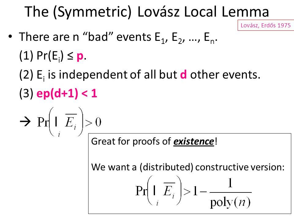 The (Symmetric) Lovász Local Lemma There are n bad events E 1, E 2, …, E n.