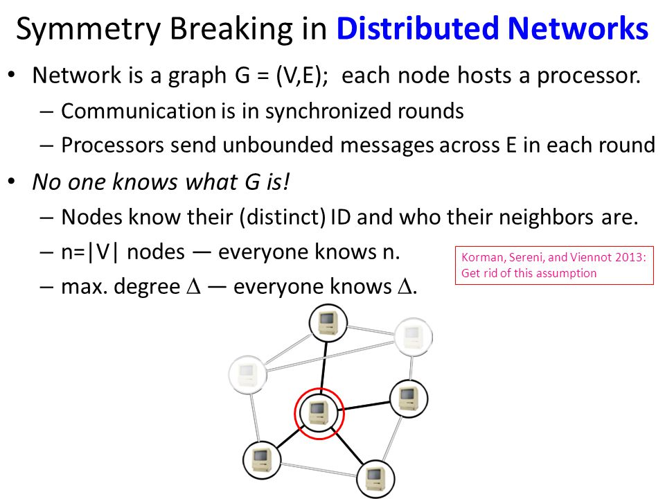 Symmetry Breaking in Distributed Networks Network is a graph G = (V,E); each node hosts a processor.