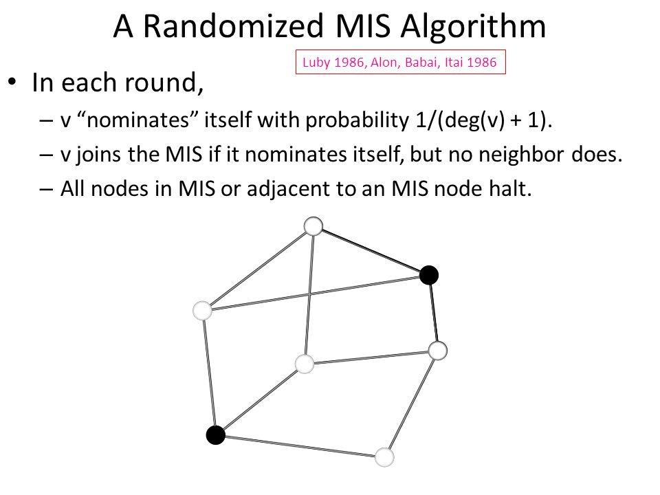 A Randomized MIS Algorithm In each round, – v nominates itself with probability 1/(deg(v) + 1).