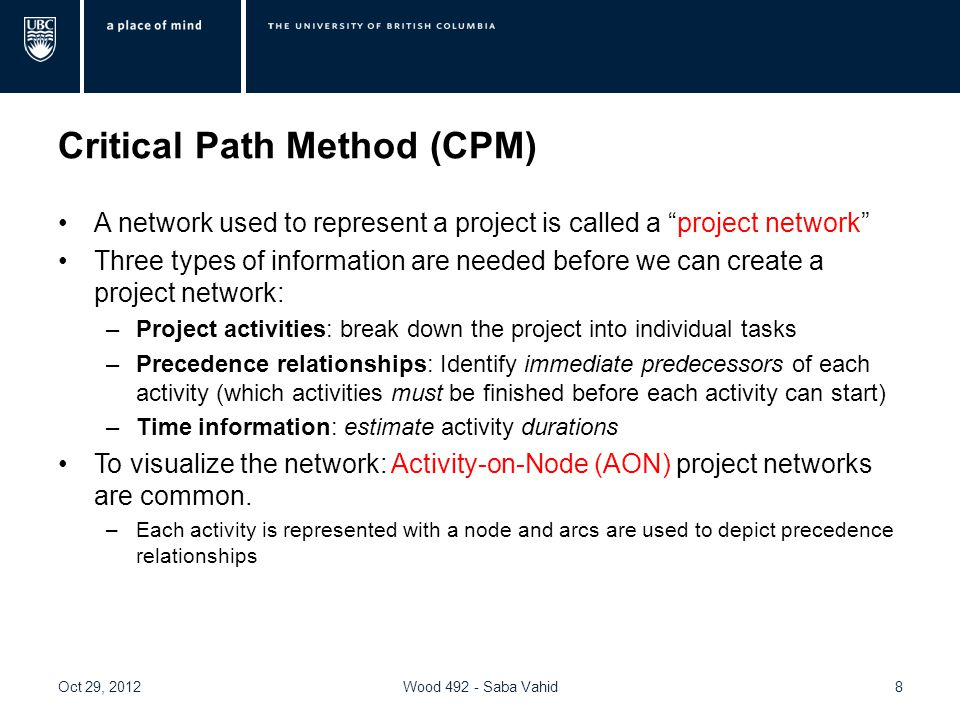 Critical Path Method (CPM) A network used to represent a project is called a project network Three types of information are needed before we can create a project network: –Project activities: break down the project into individual tasks –Precedence relationships: Identify immediate predecessors of each activity (which activities must be finished before each activity can start) –Time information: estimate activity durations To visualize the network: Activity-on-Node (AON) project networks are common.