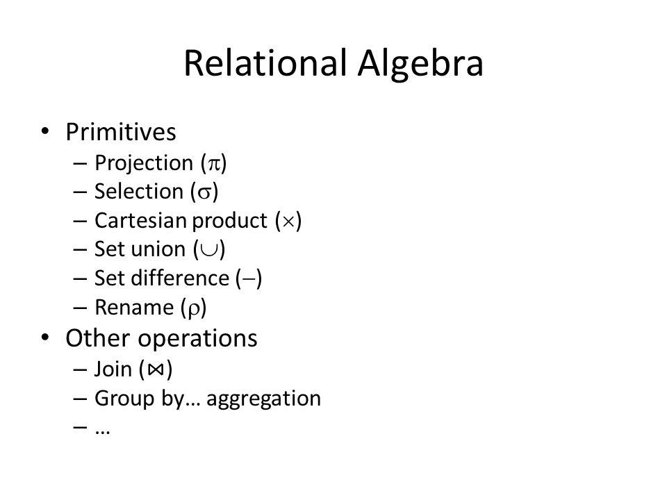 Natural Join Operation – Example Relations r, s: AB  1241212412 CD  aababaabab B 1312313123 D aaabbaaabb E  r AB  1111211112 CD  aaaabaaaab E  s r s