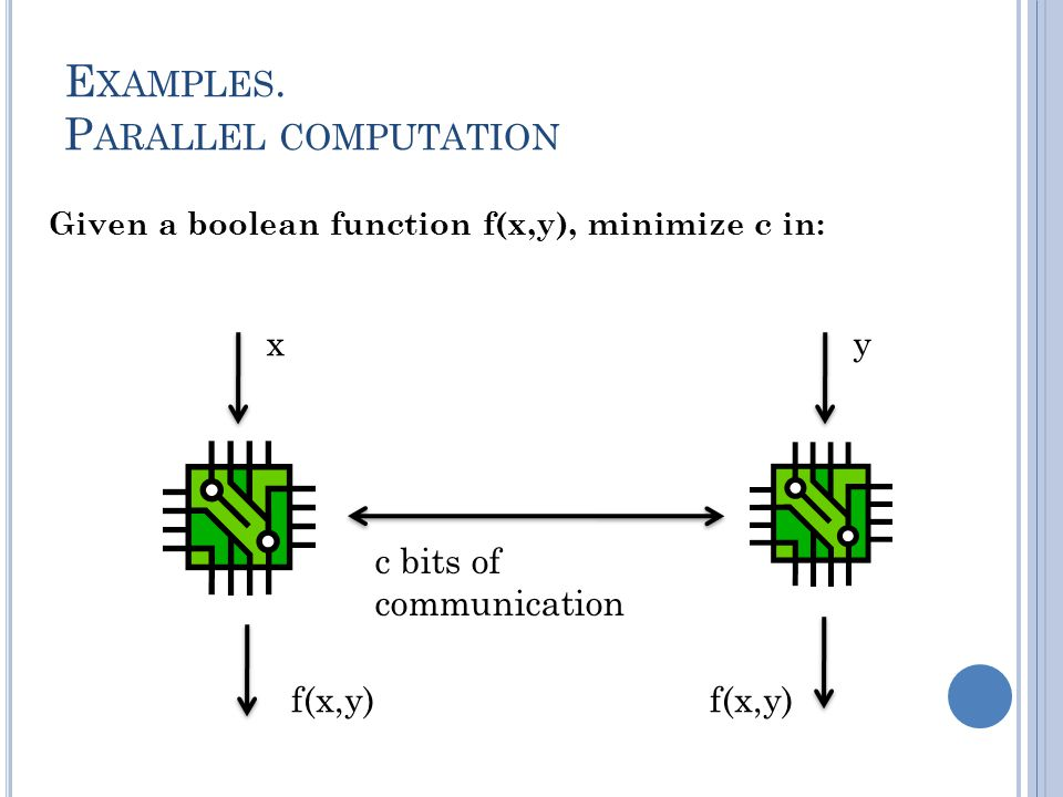 Given a boolean function f(x,y), minimize c in: xy c bits of communication f(x,y)