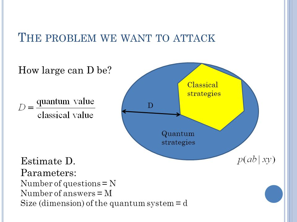 T HE PROBLEM WE WANT TO ATTACK Estimate D. Parameters: Number of questions = N Number of answers = M Size (dimension) of the quantum system = d D Quan