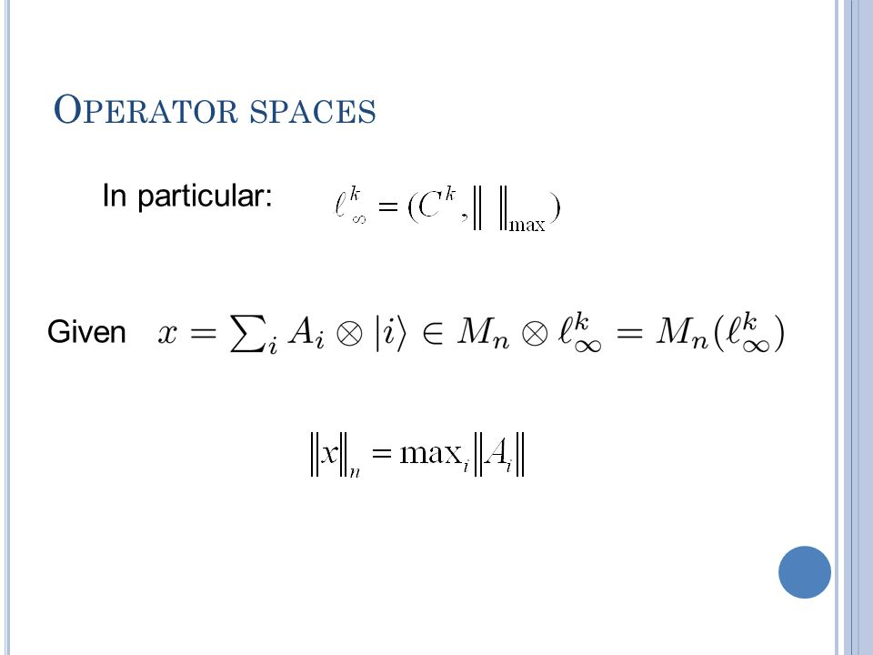 O PERATOR SPACES In particular: Given