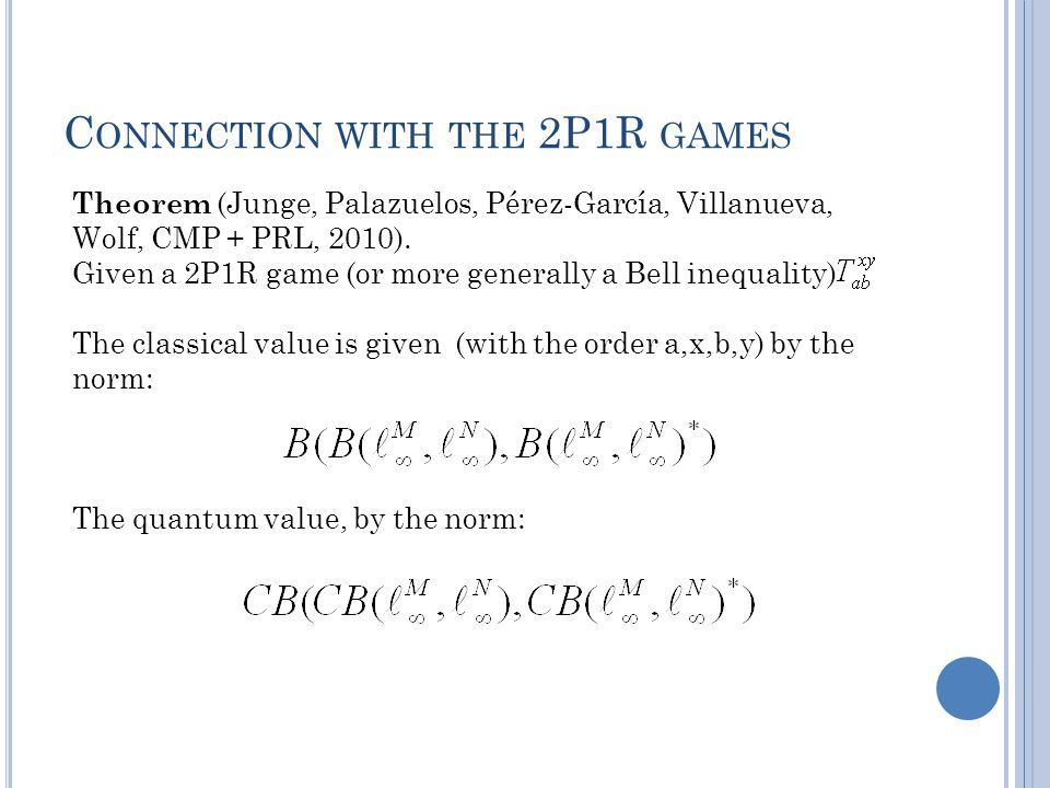 C ONNECTION WITH THE 2P1R GAMES Theorem (Junge, Palazuelos, Pérez-García, Villanueva, Wolf, CMP + PRL, 2010).