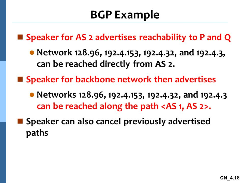 CN_4.18 BGP Example n Speaker for AS 2 advertises reachability to P and Q l Network 128.96, 192.4.153, 192.4.32, and 192.4.3, can be reached directly from AS 2.