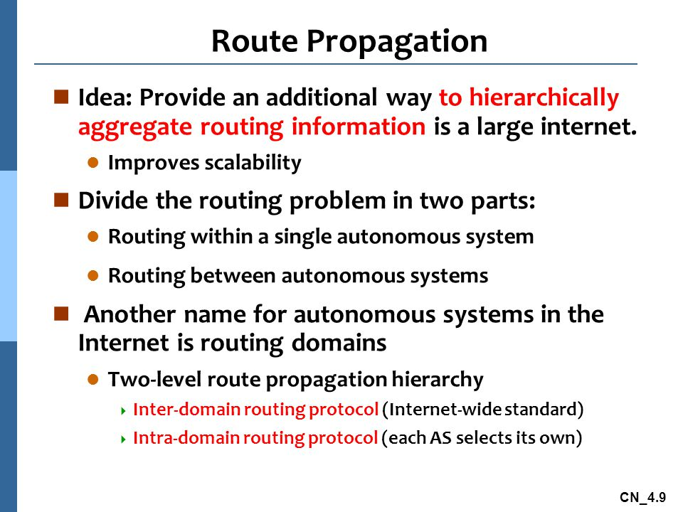 CN_4.9 Route Propagation n Idea: Provide an additional way to hierarchically aggregate routing information is a large internet.
