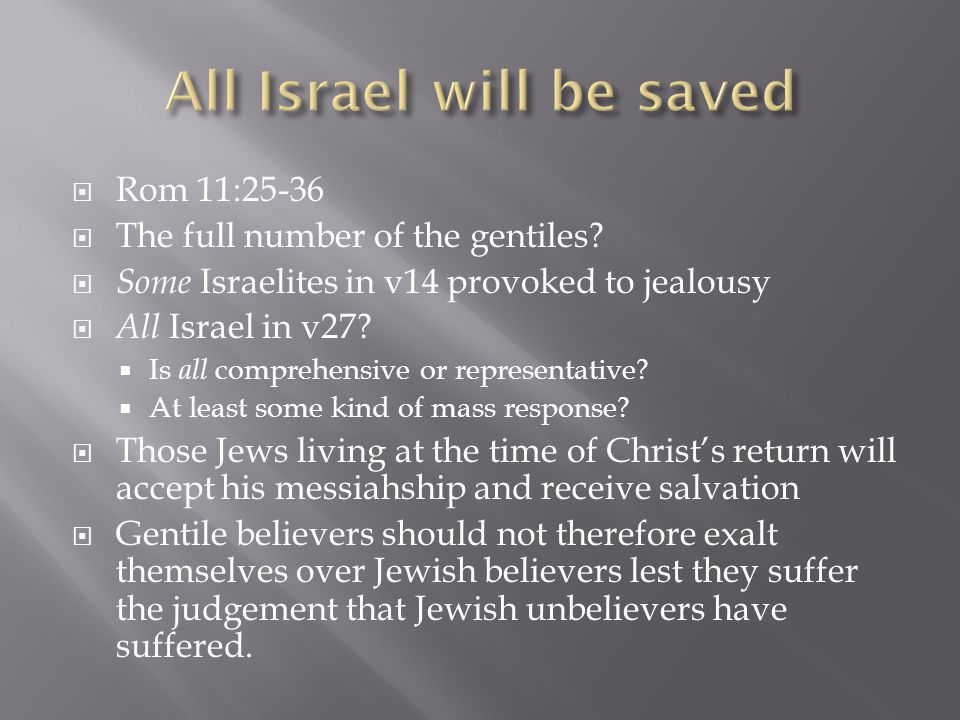  Rom 11:25-36  The full number of the gentiles.