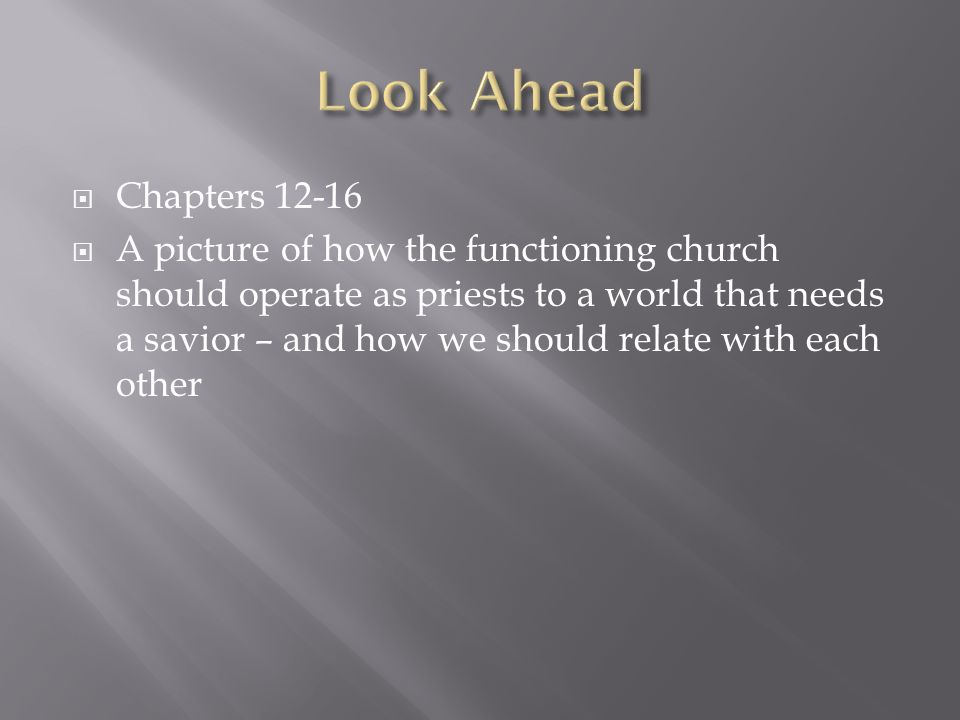  Chapters 12-16  A picture of how the functioning church should operate as priests to a world that needs a savior – and how we should relate with each other