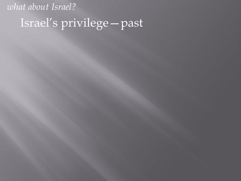 Israel's privilege—past