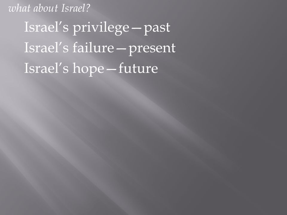 what about Israel? Israel's privilege—past Israel's failure—present Israel's hope—future