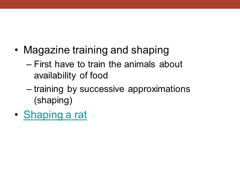 Magazine training and shaping –First have to train the animals about availability of food –training by successive approximations (shaping) Shaping a r