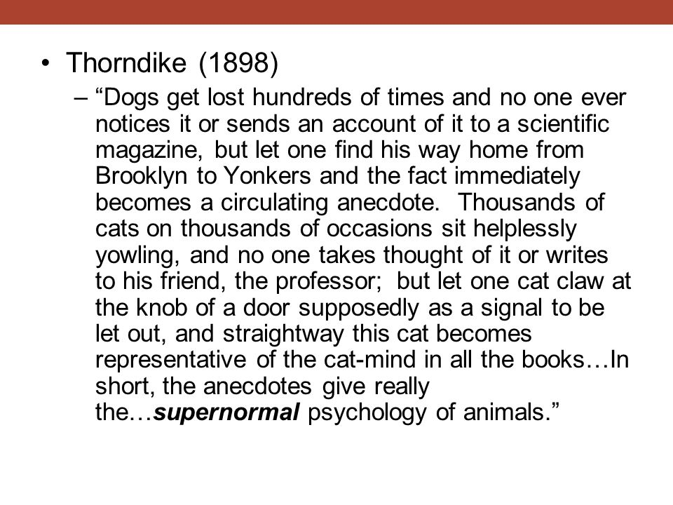 Thorndike (1898) – Dogs get lost hundreds of times and no one ever notices it or sends an account of it to a scientific magazine, but let one find his way home from Brooklyn to Yonkers and the fact immediately becomes a circulating anecdote.