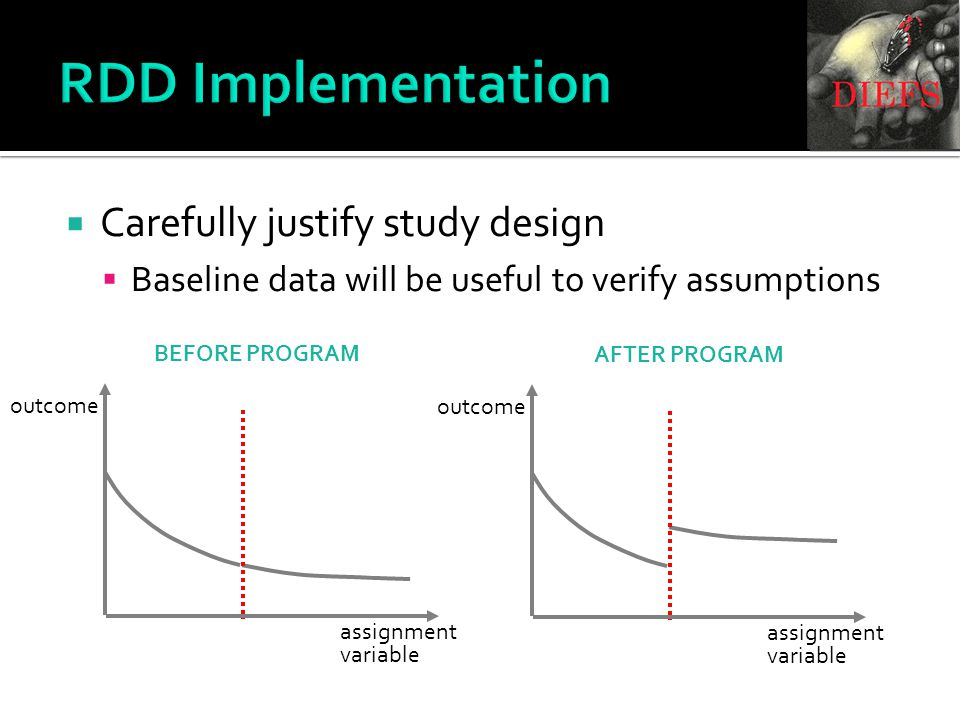 RDD Implementation  Carefully justify study design  Baseline data will be useful to verify assumptions assignment variable outcome assignment variable outcome BEFORE PROGRAM AFTER PROGRAM