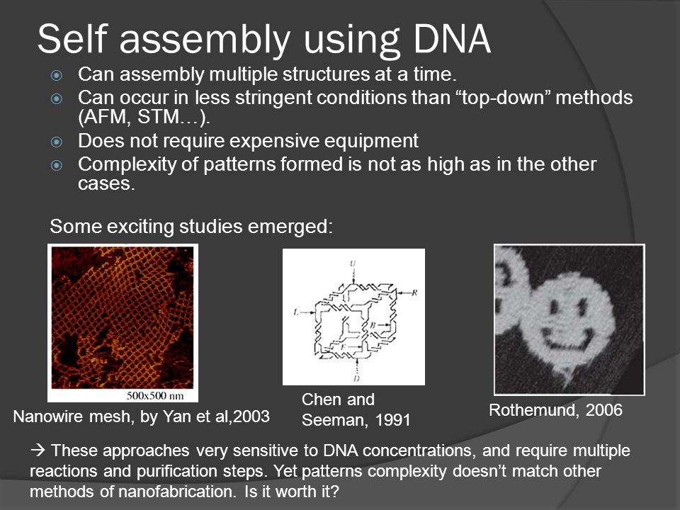Self assembly using DNA  Can assembly multiple structures at a time.