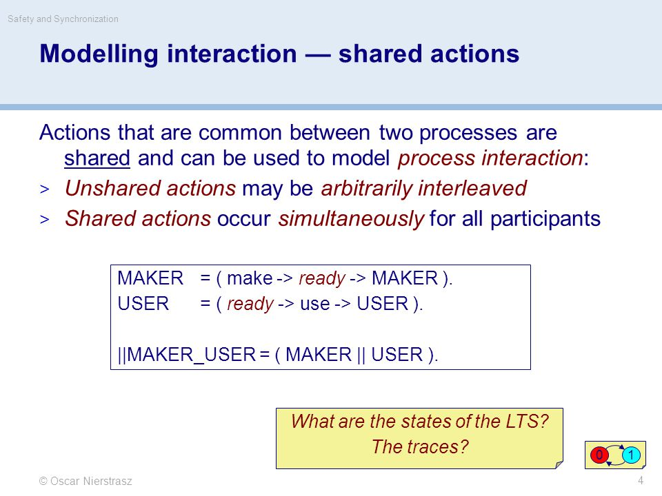 © Oscar Nierstrasz Safety and Synchronization 4 Modelling interaction — shared actions Actions that are common between two processes are shared and ca