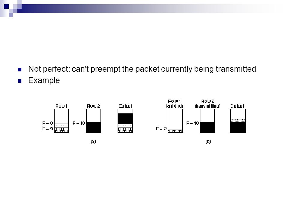 Not perfect: can't preempt the packet currently being transmitted Example
