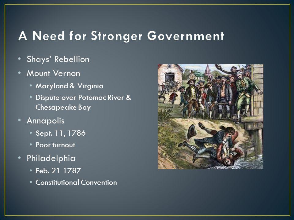 Shays' Rebellion Mount Vernon Maryland & Virginia Dispute over Potomac River & Chesapeake Bay Annapolis Sept. 11, 1786 Poor turnout Philadelphia Feb.