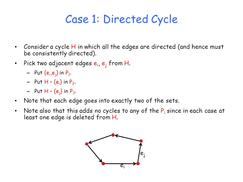 Case 1: Directed Cycle Consider a cycle H in which all the edges are directed (and hence must be consistently directed). Pick two adjacent edges e i,