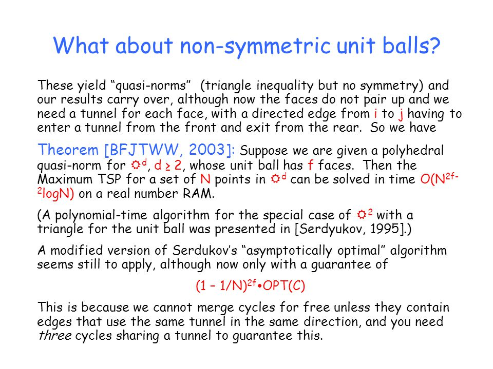 "What about non-symmetric unit balls? These yield ""quasi-norms"" (triangle inequality but no symmetry) and our results carry over, although now the face"