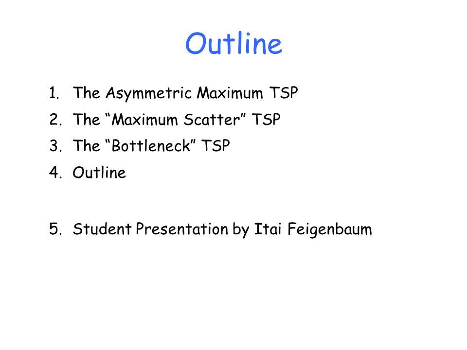 Outline 1.The Asymmetric Maximum TSP 2.The Maximum Scatter TSP 3.The Bottleneck TSP 4.Outline 5.Student Presentation by Itai Feigenbaum