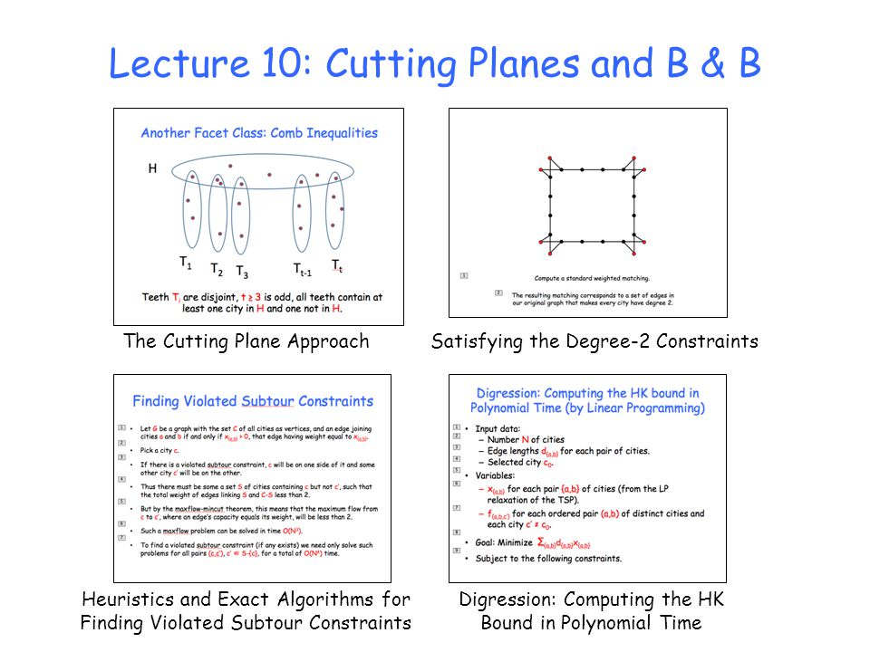 Lecture 10: Cutting Planes and B & B The Cutting Plane Approach Heuristics and Exact Algorithms for Finding Violated Subtour Constraints Satisfying th