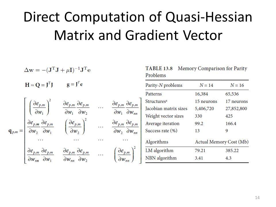 Direct Computation of Quasi-Hessian Matrix and Gradient Vector 14