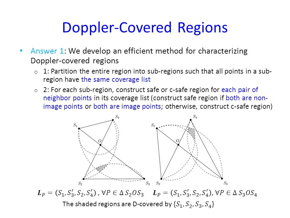 Doppler-Covered Regions Answer 1: We develop an efficient method for characterizing Doppler-covered regions o 1: Partition the entire region into sub-regions such that all points in a sub- region have the same coverage list o 2: For each sub-region, construct safe or c-safe region for each pair of neighbor points in its coverage list (construct safe region if both are non- image points or both are image points; otherwise, construct c-safe region)