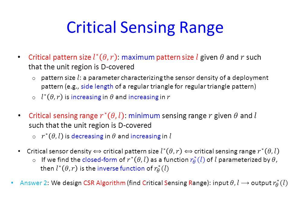 Critical Sensing Range