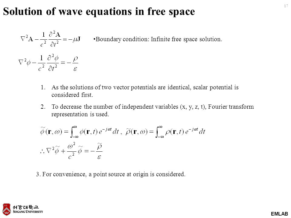 EMLAB 17 Solution of wave equations in free space Boundary condition: Infinite free space solution.