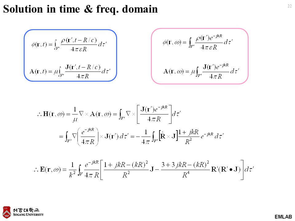 EMLAB 22 Solution in time & freq. domain
