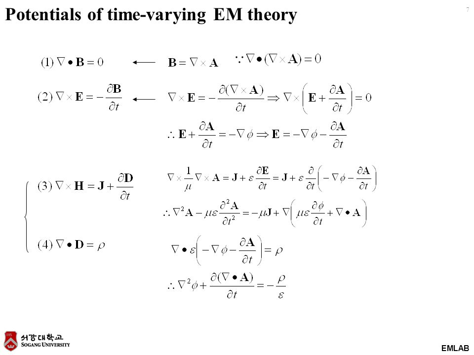 EMLAB 8 Lorentz condition To find unique value of vector potential A, the divergence and the curl of A should be known.