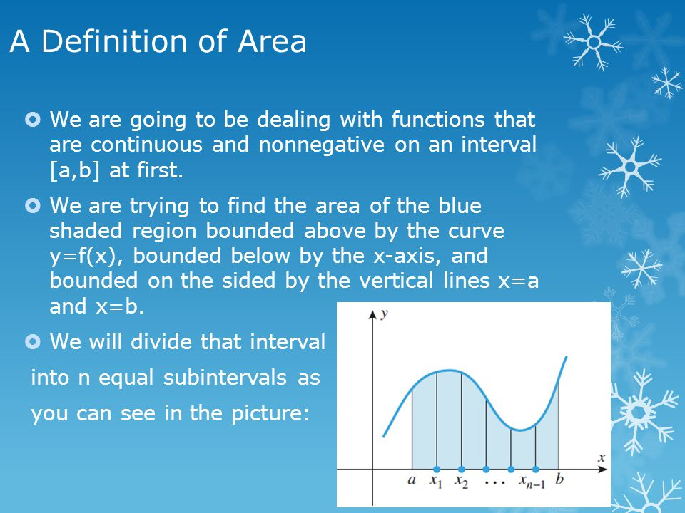 A Definition of Area - continued  The distance between a and b is b-a.