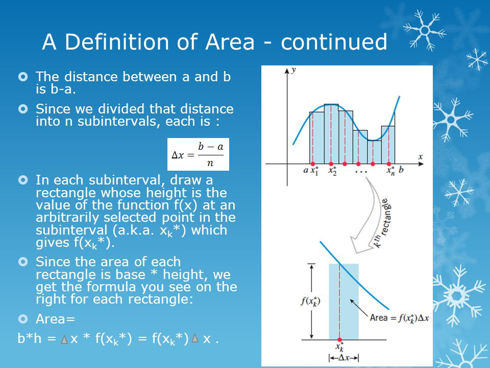 A Definition of Area - continued  The distance between a and b is b-a.  Since we divided that distance into n subintervals, each is :  In each subi