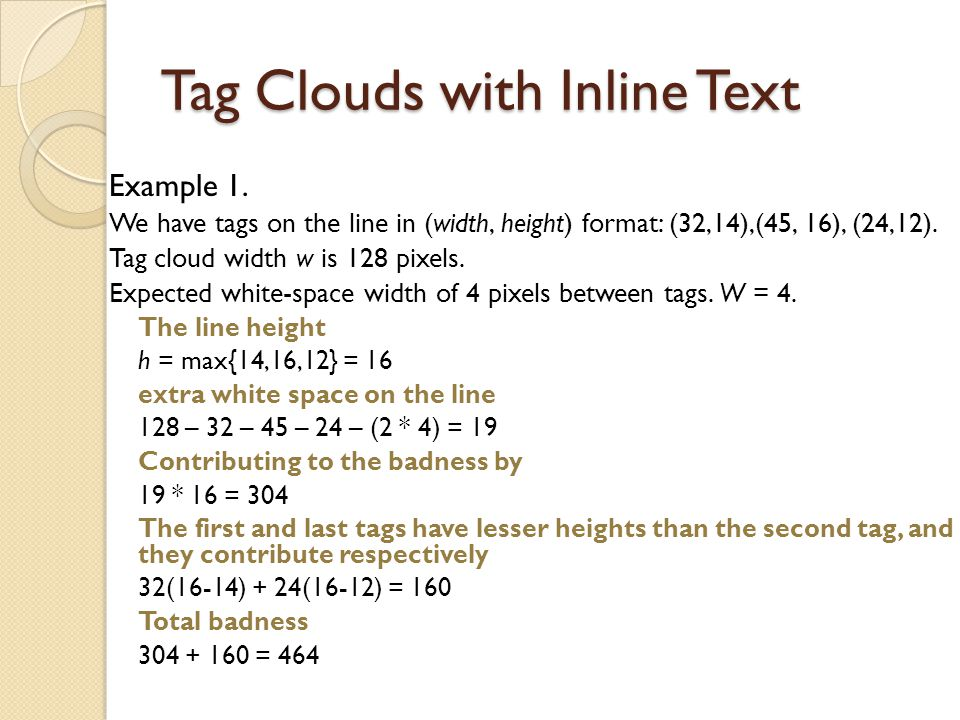 Tag Clouds with Inline Text Example 1.