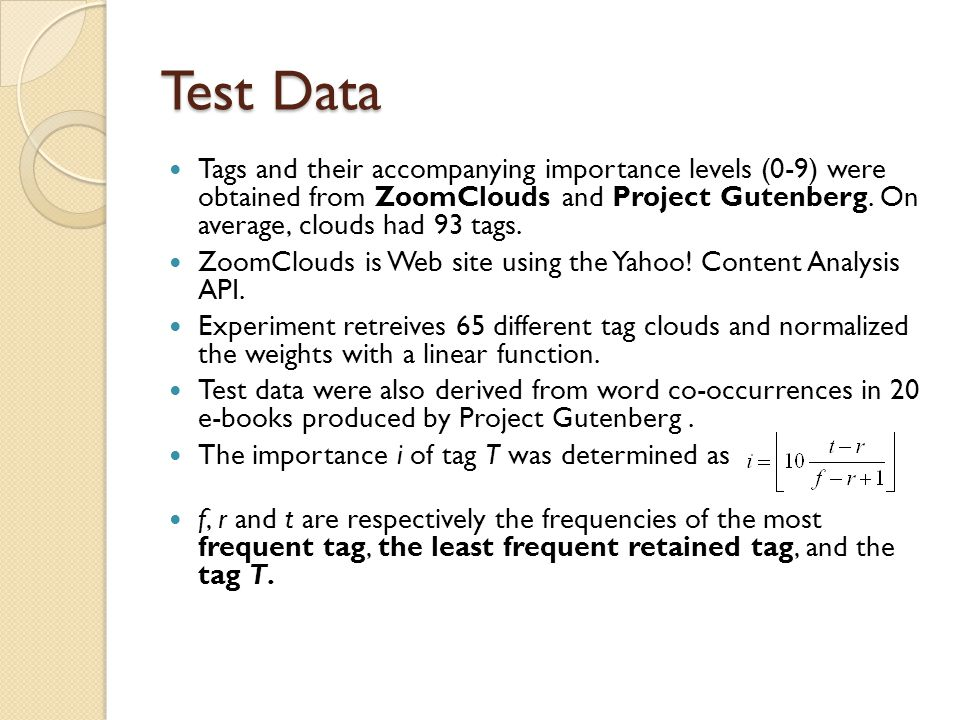 Test Data Tags and their accompanying importance levels (0-9) were obtained from ZoomClouds and Project Gutenberg.