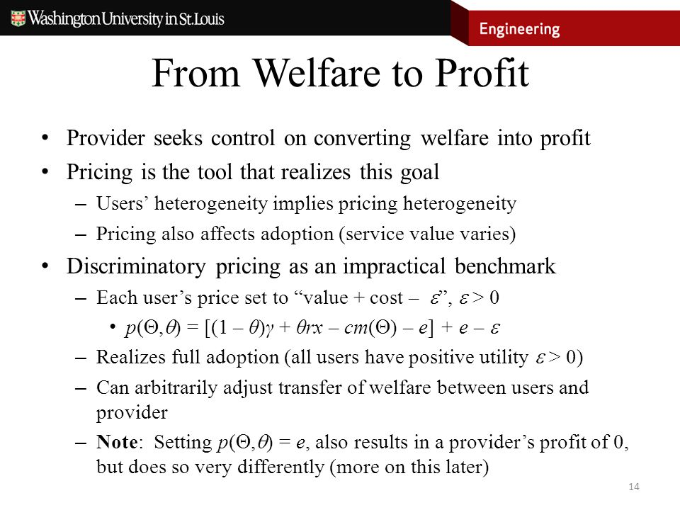 From Welfare to Profit Provider seeks control on converting welfare into profit Pricing is the tool that realizes this goal – Users' heterogeneity imp