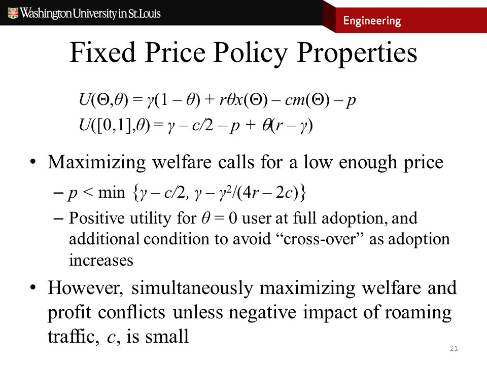 Fixed Price Policy Properties U( ,θ) = γ(1 – θ) + rθx(  ) – cm(  ) – p U([0,1],θ) = γ – c/2 – p +  (r – γ) Maximizing welfare calls for a low enou
