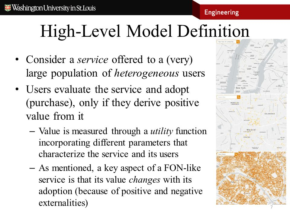 High-Level Model Definition Consider a service offered to a (very) large population of heterogeneous users Users evaluate the service and adopt (purch