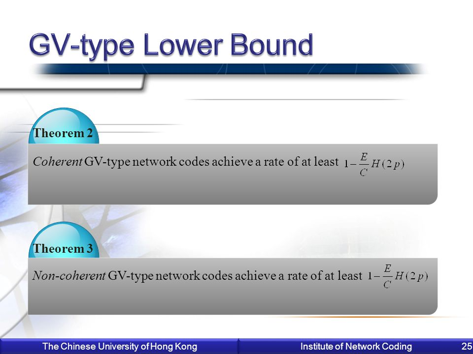 The Chinese University of Hong Kong Institute of Network Coding 25 Coherent GV-type network codes achieve a rate of at least Theorem 2 Non-coherent GV-type network codes achieve a rate of at least Theorem 3