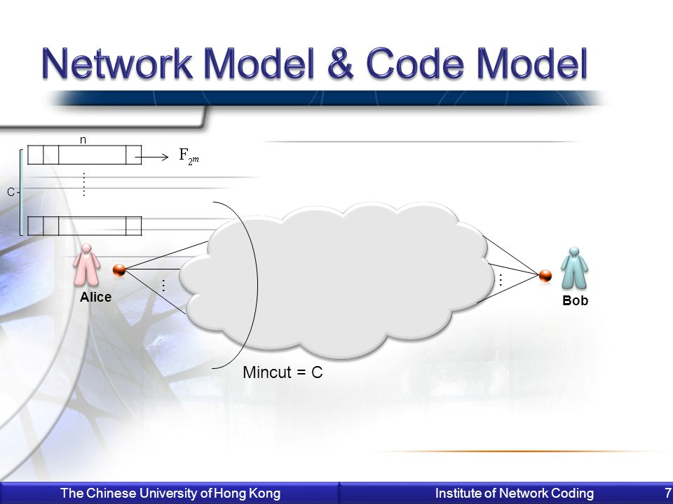 The Chinese University of Hong Kong Institute of Network Coding 7 Alice Bob C n …… Mincut = C … …